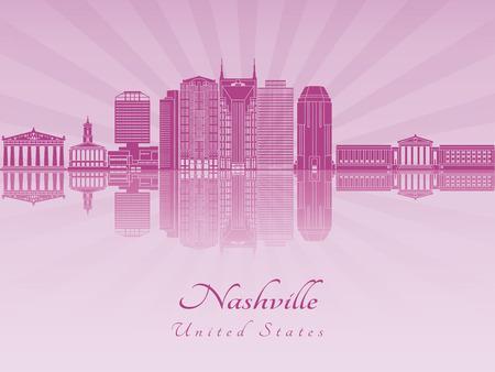 radiant: Nashville skyline in purple radiant orchid in editable vector file Illustration