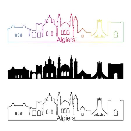 algiers: Algiers skyline linear style with rainbow in editable vector file Illustration