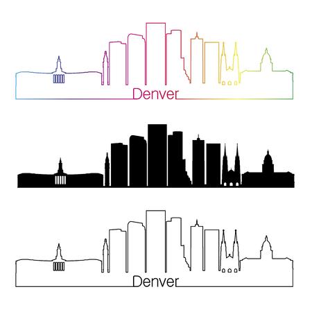 denver skyline: Denver skyline linear style with rainbow in editable vector file Illustration