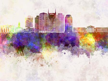 nashville: Nashville V2 skyline in watercolor background Stock Photo