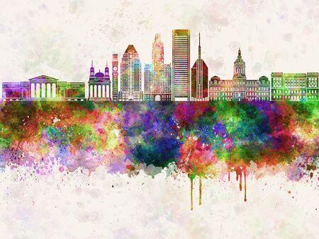 Baltimore V2 skyline in watercolor background