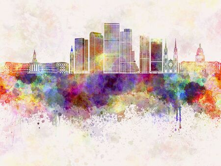 denver colorado: Denver V2 skyline in watercolor background Stock Photo