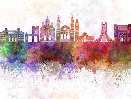 algiers: Algiers skyline in watercolor background