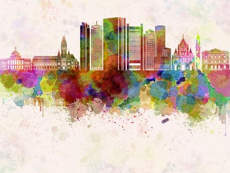 水彩画背景でボストン V2 スカイライン 写真素材