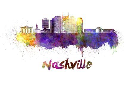 Nashville skyline in watercolor splatters