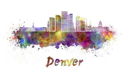 Denver skyline in watercolor splatters