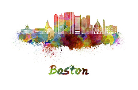 Boston skyline in watercolor splatters Stock Photo