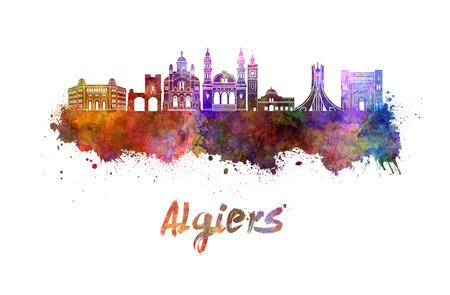 Algiers skyline in watercolor splatters