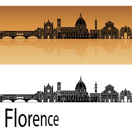 Florence skyline in orange background in editable vector file
