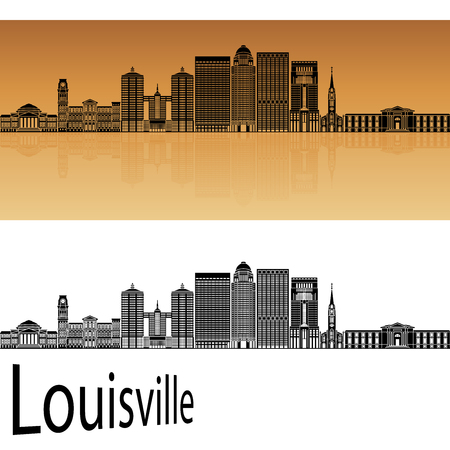 horizon reflection: Louisville skyline in orange background in editable vector file
