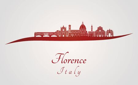 florence: Florence skyline in red and gray background