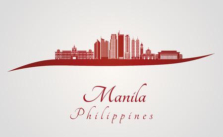 manila: Manila skyline in red and gray background