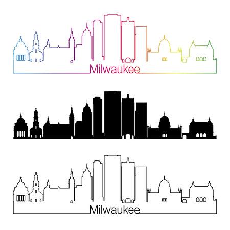 Milwaukee: Milwaukee skyline linear style with rainbow in editable vector file Illustration