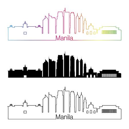 manila: Manila skyline linear style with rainbow in editable vector file
