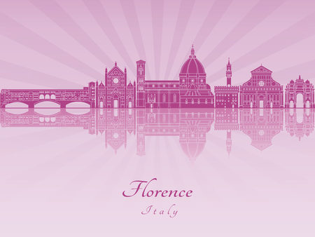 radiant: Florence skyline in purple radiant orchid in editable vector file Illustration