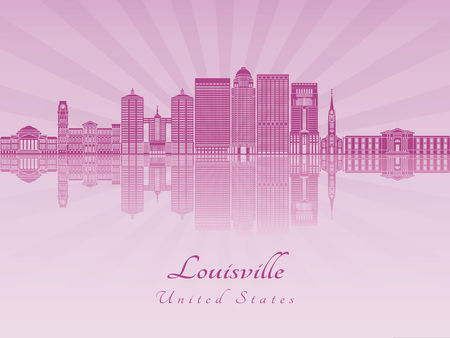 radiant: Louisville skyline in purple radiant orchid in editable vector file