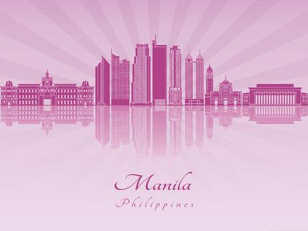 manila: Manila skyline in purple radiant orchid in editable vector file