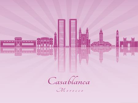 radiant: Casablanca skyline in purple radiant orchid in editable vector file Illustration