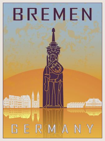 old postcards: Bremen Vintage poster in orange and blue textured background with skyiline in white Illustration