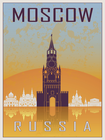 old postcards: Moscow Vintage Poster in orange and blue textured background with skyiline in white