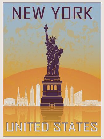 new york skyline: New York Vintage Poster 2 in orange and blue textured background with skyline in white