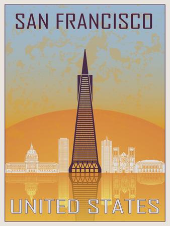 白のスカイラインとオレンジと青のテクスチャ背景のサンフランシスコ 2 ビンテージ ポスター