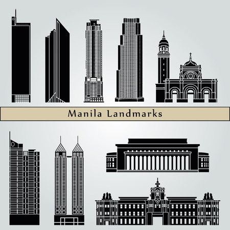 manila: Manila landmarks and monuments isolated on blue background in editable vector file