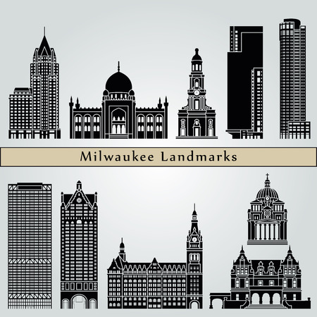 Milwaukee landmarks and monuments isolated on blue background in editable vector file