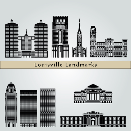 city icon: Louisville landmarks and monuments isolated on blue background in editable vector file