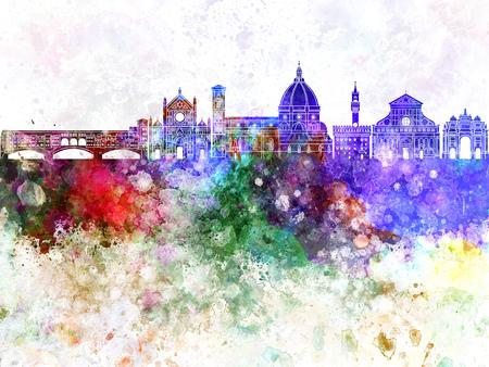 水彩画背景でフィレンツェ スカイライン 写真素材