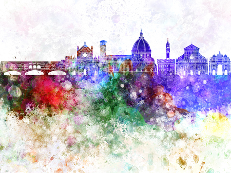 Florence skyline in watercolor background 版權商用圖片 - 63421983
