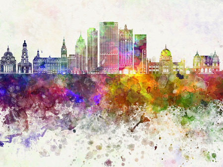 splatter paint: Milwaukee skyline in watercolor background Stock Photo