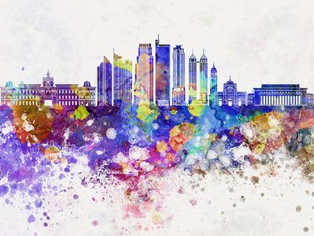 manila: Manila V2 skyline in watercolor background Stock Photo