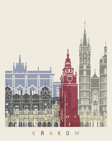 Krakow skyline poster in editable vector file