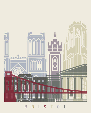 Bristol skyline poster in editable vector file Illustration