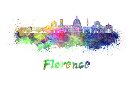 Florence skyline in watercolor splatters