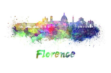 Florenz-Skyline im Aquarell Splatters