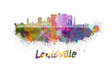Louisville skyline in watercolor splatters