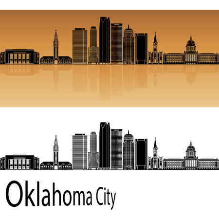 oklahoma city: Oklahoma City skyline in orange background in editable vector file