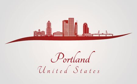 portland: Portland skyline in red and gray background in editable vector file