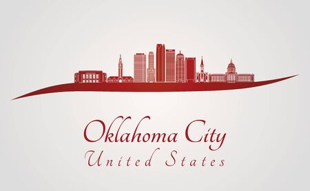 oklahoma city: Oklahoma City skyline in red and gray background in editable vector file