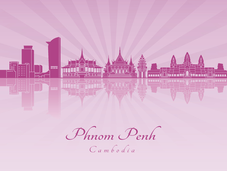 Phnom Penh skyline in purple radiant orchid in editable vector file