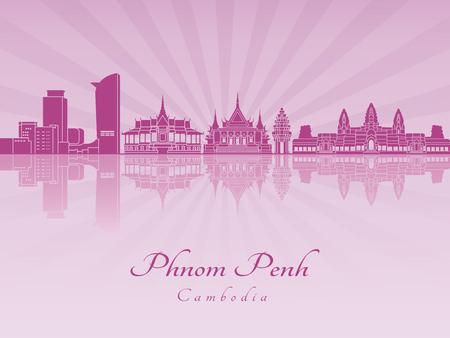 radiant: Phnom Penh skyline in purple radiant orchid in editable vector file