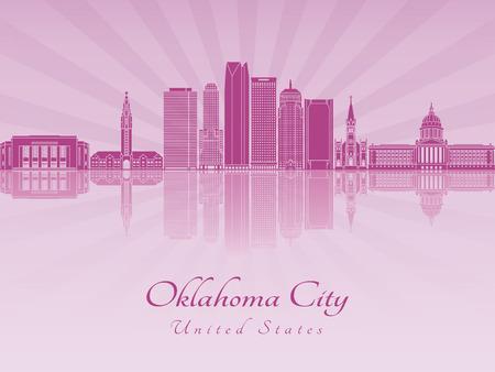 oklahoma city: Oklahoma City V2 skyline in purple radiant orchid in editable vector file Illustration