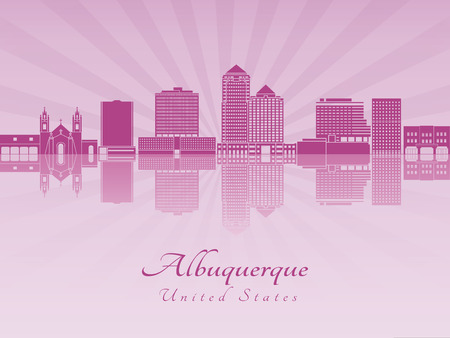 albuquerque: Albuquerque skyline in purple radiant orchid in editable vector file Illustration