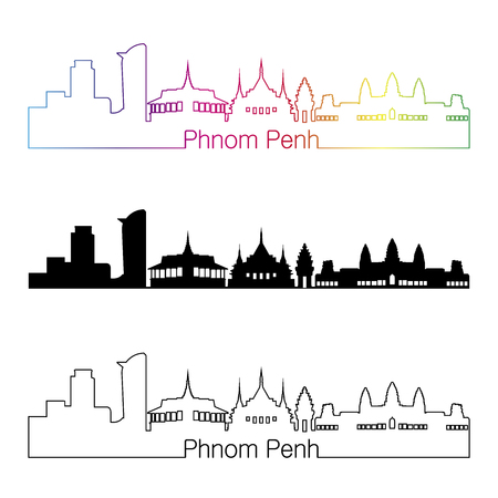 Phnom Penh skyline linear style with rainbow in editable vector file