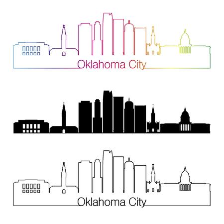 oklahoma city: Oklahoma City skyline linear style with rainbow in editable vector file