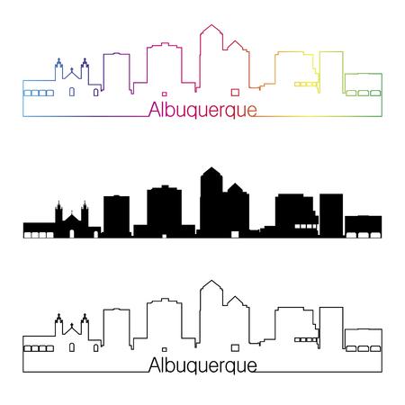 albuquerque: Albuquerque skyline linear style with rainbow in editable vector file
