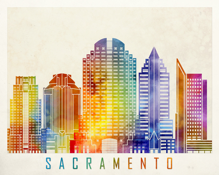 Sacramento landmarks watercolor poster Stock Photo