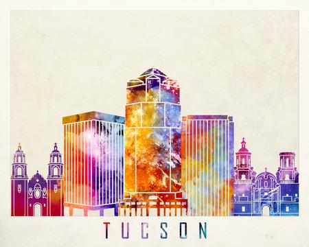 tucson: Tucson landmarks watercolor poster